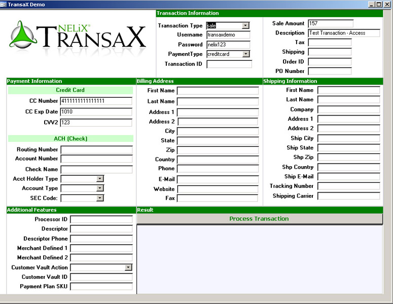 NELiX TransaX FleXport screenshot: payment, processing, gateway, credit, card, transaction, check, merchant, account, virtual, terminal